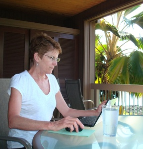 Irene writing on lanai
