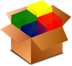 Box with color cubes