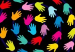 Colorful helping hands
